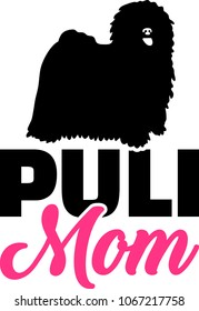 Puli mom silhouette with pink word
