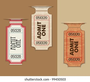 Pull Out Ticket Stubs - Admission ticket tabs as background, three dimensional, grungy vintage look