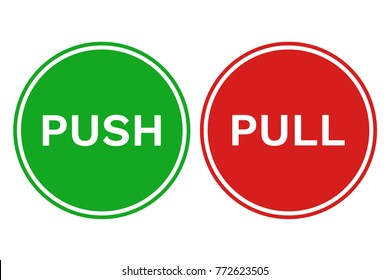 PULL PUSH door signs in green and red circles. Vector icons.