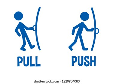 Pull or Push door signs. Instructions for opening the door. Flat icon, logo, infographics. Vector illustration eps10. Isolated on white background.