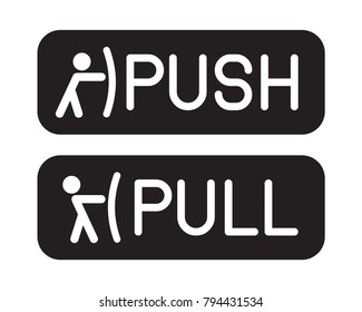 Pull or Push door signs. Vector illustration.