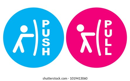 Pull or push to open. Vector illustration.