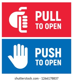 Pull and push to open. Vector illustration.
