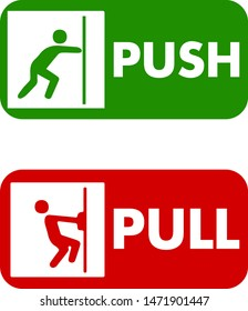 Pull and push to open. Vector illustration. Push door icon & Pull door icon