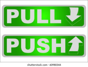 pull and push sign vector