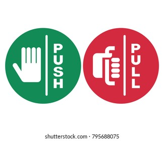 Pull or Push signs. Vector illustration.