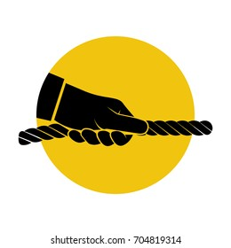 Pull rope icon. Man holding a rope in hand is isolated on a background. Vector illustration flat design.