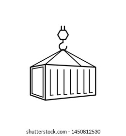 Pulley  & Container Icon -  Shipping Vector Sign & Symbol in Line Art Style for Design, Presentation or Website.