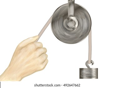 pulley and hand