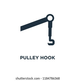 Pulley Hook icon. Black filled vector illustration. Pulley Hook symbol on white background. Can be used in web and mobile.