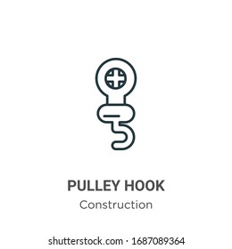Pulley hook outline vector icon. Thin line black pulley hook icon, flat vector simple element illustration from editable construction concept isolated stroke on white background