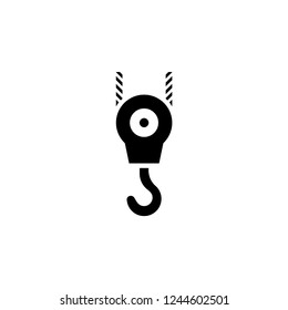 Pulley Icon. Crane Hook Vector Sign & Symbol Illustration.
