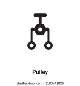 Pulley icon vector isolated on white background, logo concept of Pulley sign on transparent background, filled black symbol