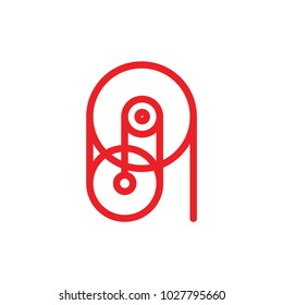 pulley machine symbol logo vector