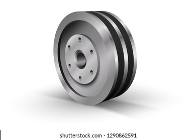 Pulley on a white background. Metallic sheave. Vector illustration.