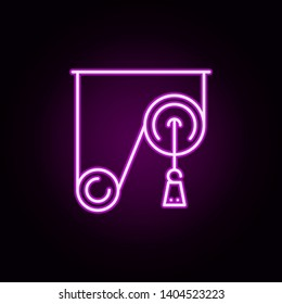 pulley weight neon icon. Elements of physics set. Simple icon for websites, web design, mobile app, info graphics