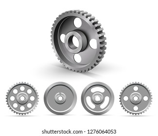 Pulleys on a white background. Metallic sheaves. Realistic cogwheel. Belt drive mechanism. Timing pulley. Industrial background. Vector illustration.