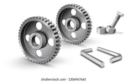 Pulleys on a white background. Metallic sheaves. Realistic cogwheel. Belt drive mechanism. Timing pulley. Industrial background. Steel hex key. Two metallic allen keys.
