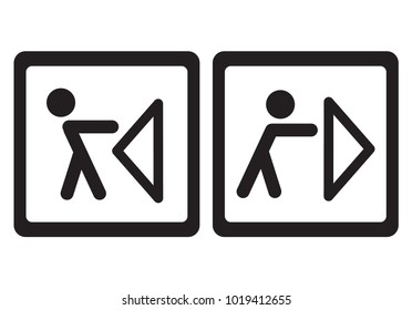 Pulling or pushing. Plate signs. Vector illustration.