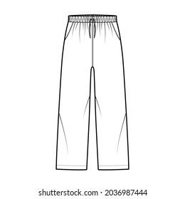 Pull-On Pants Sport training shorts technical fashion illustration with elastic low waist, rise, drawstrings, pockets, ankle length. Flat apparel template front, white color. Women men unisex mockup