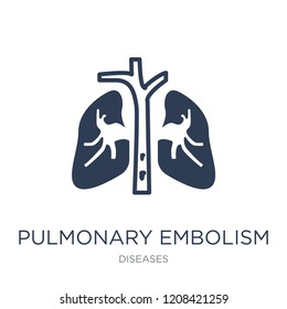Pulmonary embolism icon. Trendy flat vector Pulmonary embolism icon on white background from Diseases collection, vector illustration can be use for web and mobile, eps10