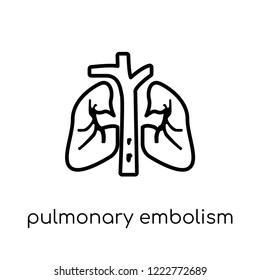 Pulmonary embolism icon. Trendy modern flat linear vector Pulmonary embolism icon on white background from thin line Diseases collection, editable outline stroke vector illustration