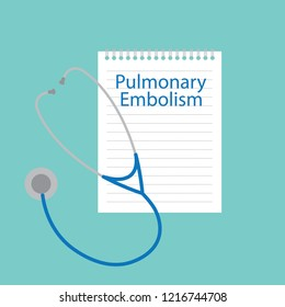 Pulmonary embolism written in a notebook- vector illustration
