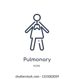 pulmonary icon from people outline collection. Thin line pulmonary icon isolated on white background.