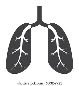 Pulmonology medical icon with lung, vector silhouette