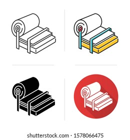Pulp and paper industry icon. Canvas production. Blank sheet on press. Professional conveyor. Page, fibre. Papermaking. Flat design, linear and color styles. Isolated vector illustrations