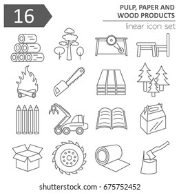 Pulp, paper and wood products icon set. Thin line design isolated on white. Create your industrial infographics collection. Vector illustration