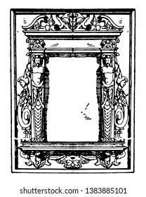 Pulpit Frame was a German frame, that was dated between 1595 to 1597, vintage line drawing or engraving illustration.
