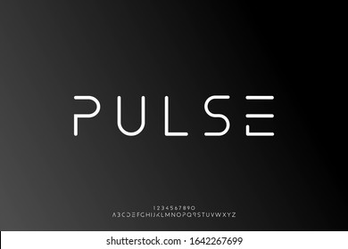 Pulse, an Abstract technology science alphabet font. digital space typography vector illustration design