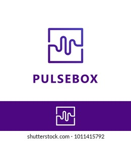 Pulse box, Wave box. Vector logo template