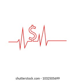 Pulse and dollar sign. Vector Illustration on white background