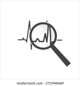Pulse and glass magnifier vector illustration. Heartbeat symbol of cardiology on white isolated background. Financial business forecast chart.