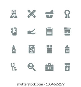 pulse icon set. Collection of 16 filled pulse icons included Medicine, Medical, Disease, Phonendoscope, Ear dropper, Diagnosis, Voice recorder, Death, Doctor