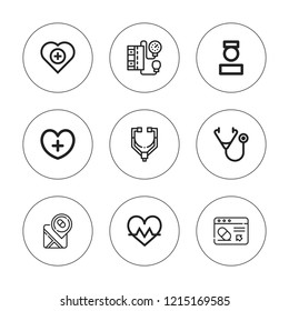 Pulse icon set. collection of 9 outline pulse icons with blood pressure gauge, cardiogram, health, healthcare, nurse, pharmacy, phonendoscope icons. editable icons.