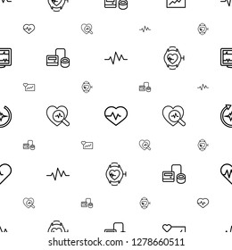 pulse icons pattern seamless white background. Included editable outline heartbeat, cardiogram, blod pressure tool, heartbeat search, heartbeat watch icons. pulse icons for web and mobile.