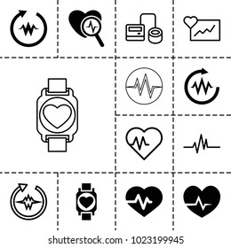 Pulse icons. set of 13 editable filled and outline pulse icons such as heartbeat, cardiogram, blod pressure tool, heartbeat search