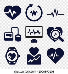 Pulse icons. set of 9 editable filled pulse icons such as heartbeat, blod pressure tool, heartbeat search, heartbeat watch