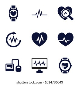 Pulse icons. set of 9 editable filled pulse icons such as blod pressure tool, heartbeat, heartbeat search