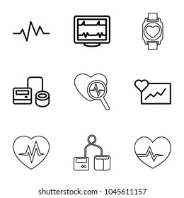 Pulse icons. set of 9 editable outline pulse icons such as cardiogram, heartbeat, blod pressure tool, heartbeat search