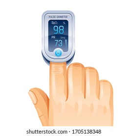 Pulse Oximeter, finger medical device icon. Corona virus Covid protect equipment. Health care icon for blood saturation test. Coronavirus prevent element. Vector illustration on white background
