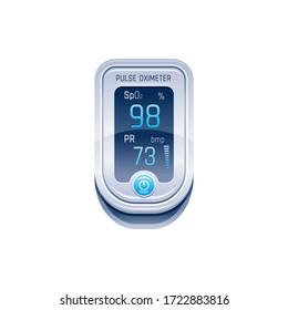 Pulse Oximeter, finger medical device icon. Corona virus Covid protect equipment. Health care icon for blood saturation test. Coronavirus prevent element. Vector illustration on white background