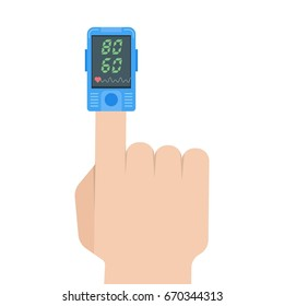 Pulse oximeter icon. Pulse measurement, determining heart rate. Vector illustration.