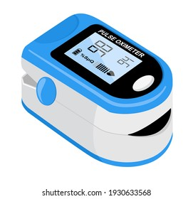 Pulse oximeter icon on the median finger for measuring oxygen in the blood. Health care for blood saturation test. Vector illustration