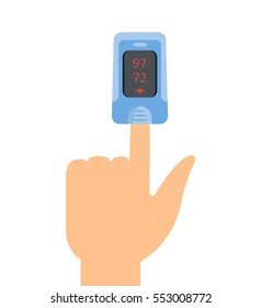 Pulse oximeter icon. Vector illustrartion flat design.
