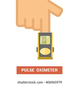 Pulse oximeter measuring pulse rate and oxygen saturation, vector