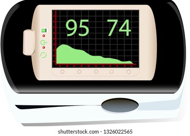 A pulse oximeter used to measure pulse rate and oxygen levels for a patient. isolated, image in vector